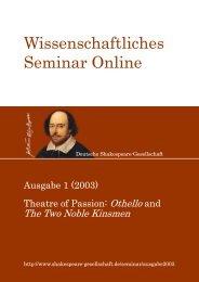 Wissenschaftliches Seminar Online 1 (2003) - Shakespeare ...