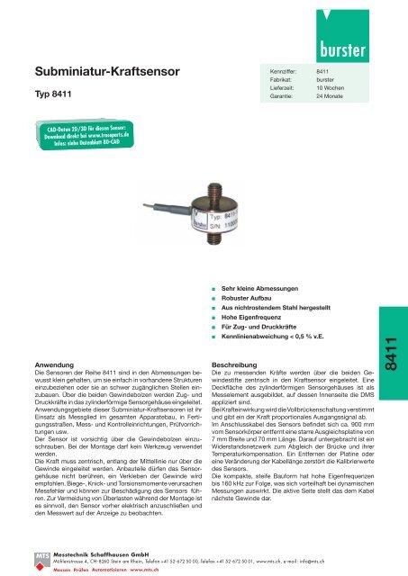 Komplettes Datenblatt Typ 8411_DE [PDF, 459 KB] - MTS ...