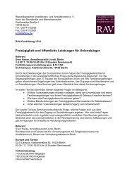 Freizügigkeit und öffentliche Leistungen für Unionsbürger - RAV