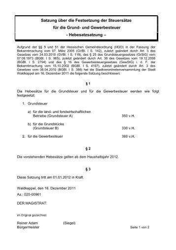 Hebesatzsatzung - Stadt Waldkappel