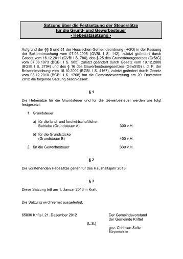 Hebesatzsatzung - Gemeinde Kriftel