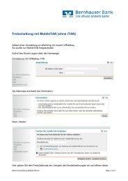 Freischaltung mit MobileTAN (ohne iTAN) - Bernhauser Bank eG