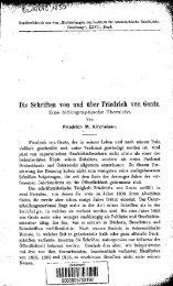 Die Schriften von und uber Friedrich von Gentz