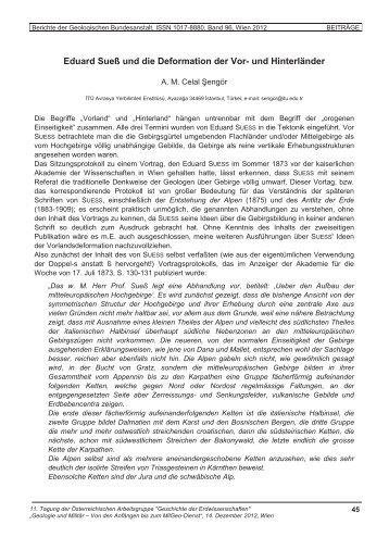 Eduard Sueß und die Deformation der Vor- und Hinterländer