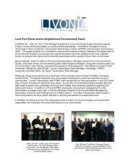 Livonia Transmission Plant and ATNPC receive the 2011 - Ford