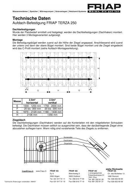 090401_Techn Daten TERZA 250_Aufdach-Befestigung - Friap AG