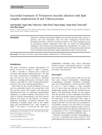 Successful treatment of Trichosporon mucoides infection with lipid ...