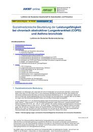 und Asthma bronchiale - Sozialmedizinische Beurteilung ... - AWMF