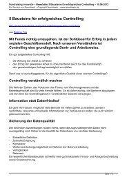 Newsletter 5 Bausteine für erfolgreiches Controlling ... - Spendwerk