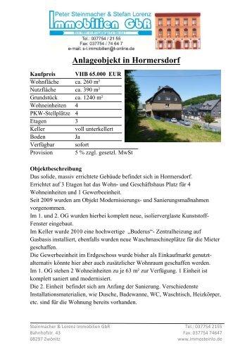 Anlageobjekt in Hormersdorf - Steinmacher & Lorenz Immobilien GbR