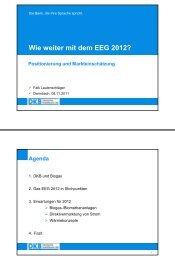 Wie weiter mit dem EEG 2012 aus Sicht einer Bank