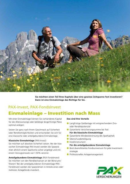 Investition nach Mass - Pax Schweizerische Lebensversicherungs ...