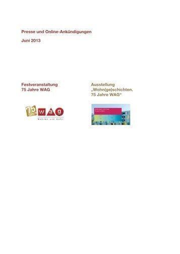 Presse und Online-Ankündigungen Juni 2013 Festveranstaltung 75 ...