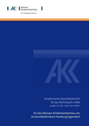 Qualitätsbericht Altonaer Kinderkrankenhaus 2006 [pdf, 511 KB]