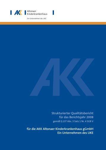Qualitätsbericht Altonaer Kinderkrankenhaus 2008 [pdf, 1 MB]