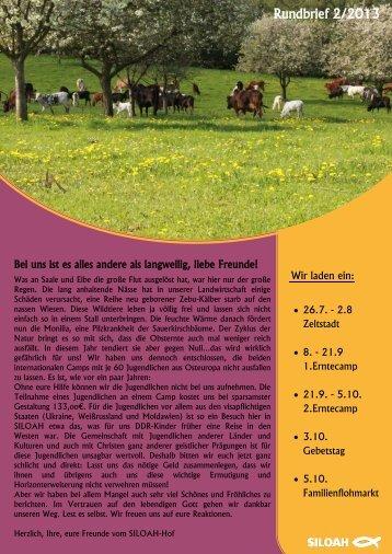 Rundbrief 2/2013 - Familienkommunität SILOAH e.V., Metebach