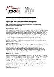 Spitzköpfe, Schnurrbärte und Schlitzpupillen – - Zoo Zürich