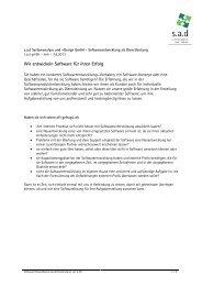 Softwareentwicklung Produktinfo - sad GmbH