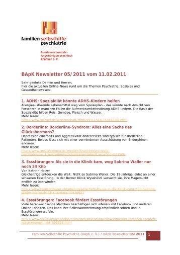 BApK Newsletter 05/2011 vom 11.02.2011