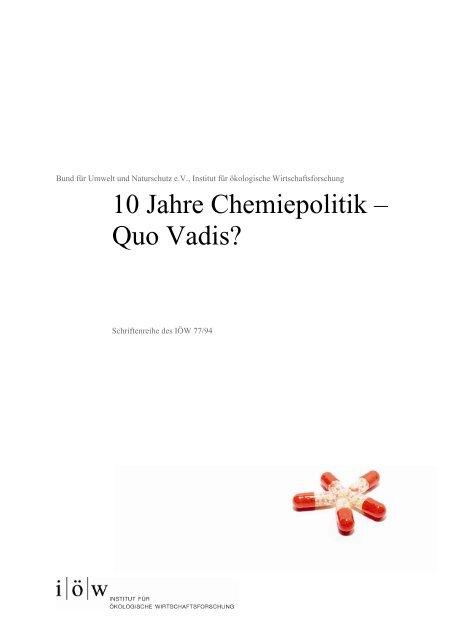 10 Jahre Chemiepoliti - Institut für ökologische Wirtschaftsforschung