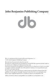 The pronoun of address in Piers Plowman - John Benjamins