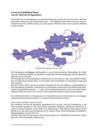 Grenzen im ländlichen Raum Aus der Sicht des Zivilgeometers
