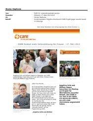 CARE-Sondernewsletter vom 27. März 2013: Angelina Jolie besucht ...