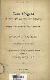 Das Ungeld in den schwabischen Stadten bis zur zweiten Halfte des ...