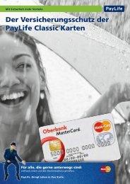 Der Versicherungsschutz der PayLife Classic Karten - Oberbank