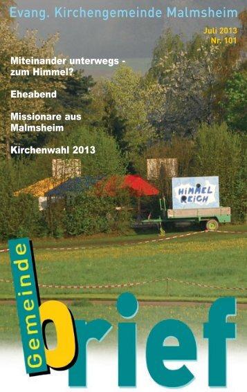 Gemeindebrief Juli 2013, Nr. 101 als PDF - Evangelische ...