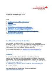 Mitgliedernewsletter Juli 2013