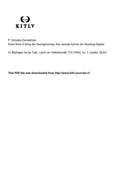 P. Donatus Dunselman Kana Sera of Zang der Zwangerschap; Een ...