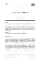 Tense in Ancient Greek Reports - Books and Journals