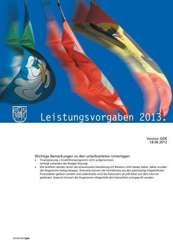 Leistungsvorgaben 2013. - Gemeinde Lyss