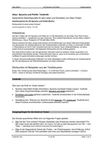 Erklärung des Attac-Ratschlags am 12. Oktober 2008 - Attac Berlin