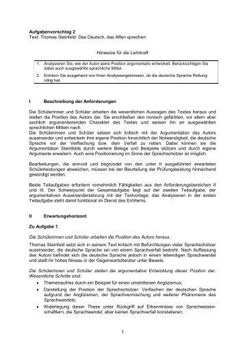 1 Aufgabenvorschlag 2 Text: Thomas Steinfeld: Das Deutsch ... - ISB