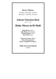 Hohe Messe in H-Moll - Berner Kammerchor