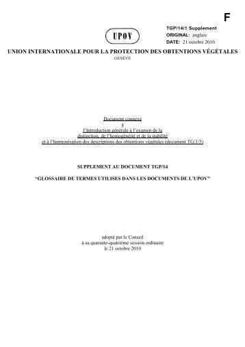 union internationale pour la protection des obtentions végétales