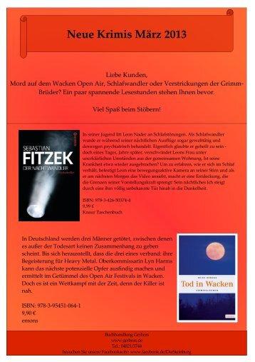 Neue Krimis März 2013 - Buchhandlung Gerbers