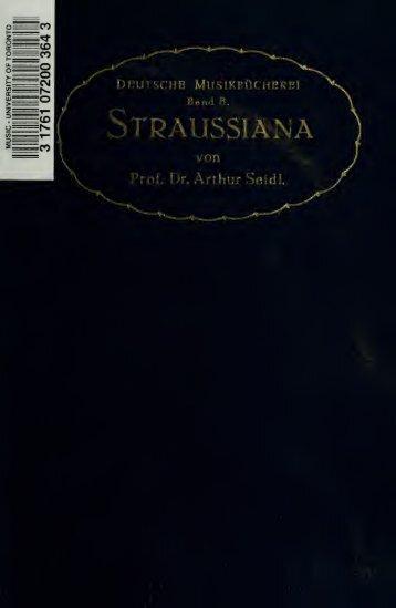 Aufsätze zur Richard Strauss-Frage aus drei Jahrzehnten