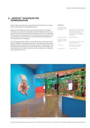 14.10.2009 Medienmitteilung Holzer Kobler Architektur