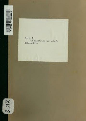 Die ehemalige Herrschaft Haldenstein; ein Beitrag zur Geschichte ...