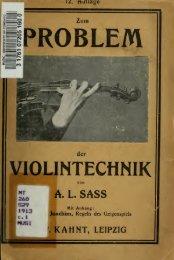 Zum Problem der Violintechnik : eine Anleitung um in kurzer Zeit ...