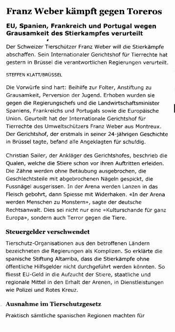 Franz Weber kämpft gegen Toreros - Fondation Franz Weber