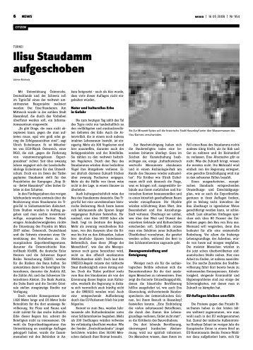 Ilisu Staudamm aufgeschoben - Woxx