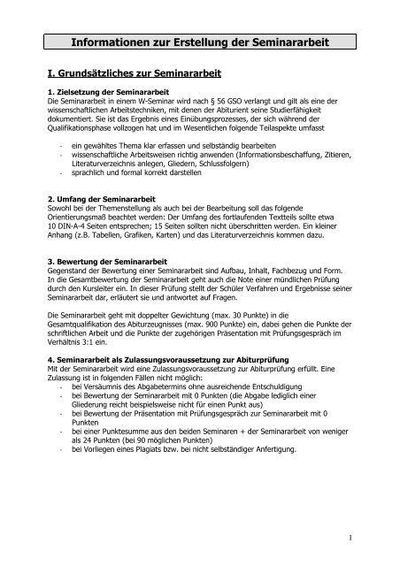 Informationen Zur Erstellung Der Seminararbeit Regental