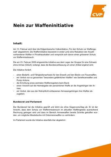 Nein zur Waffeninitiative. - CVP Schweiz