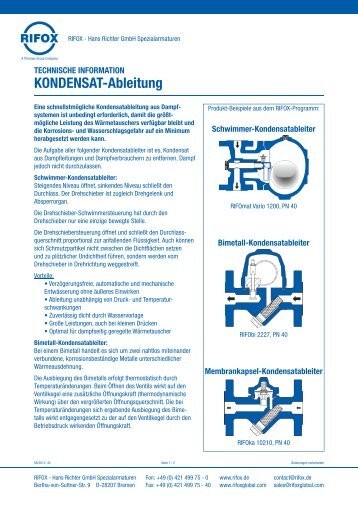 KONDENSAT-Ableitung - Rifox-Hans Richter GmbH