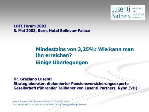LOFI Forum 2003 8 mai 2003, Berne, Hotel Bellevue-Palace - Lusenti ...