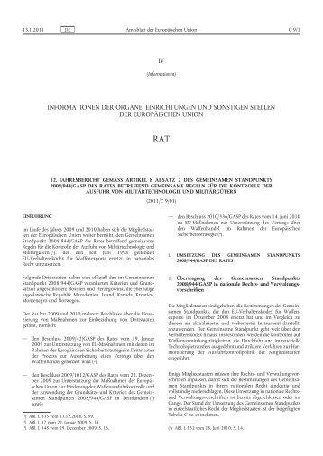 12. Jahresbericht gemäß Artikel 8 Absatz 2 des Gemeinsamen ...
